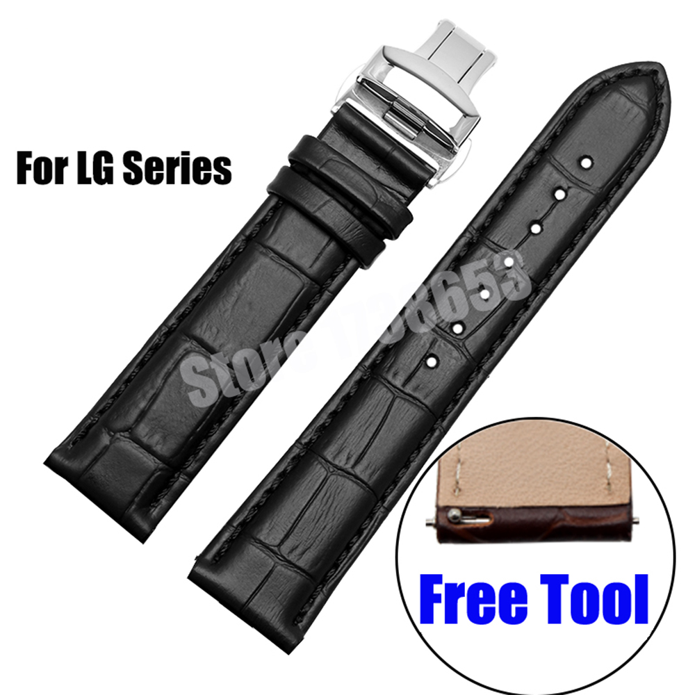 Kalite hakiki deri watchband yumuşak askı 22mm lg g watch r urbane w150 deri watch band bilezik