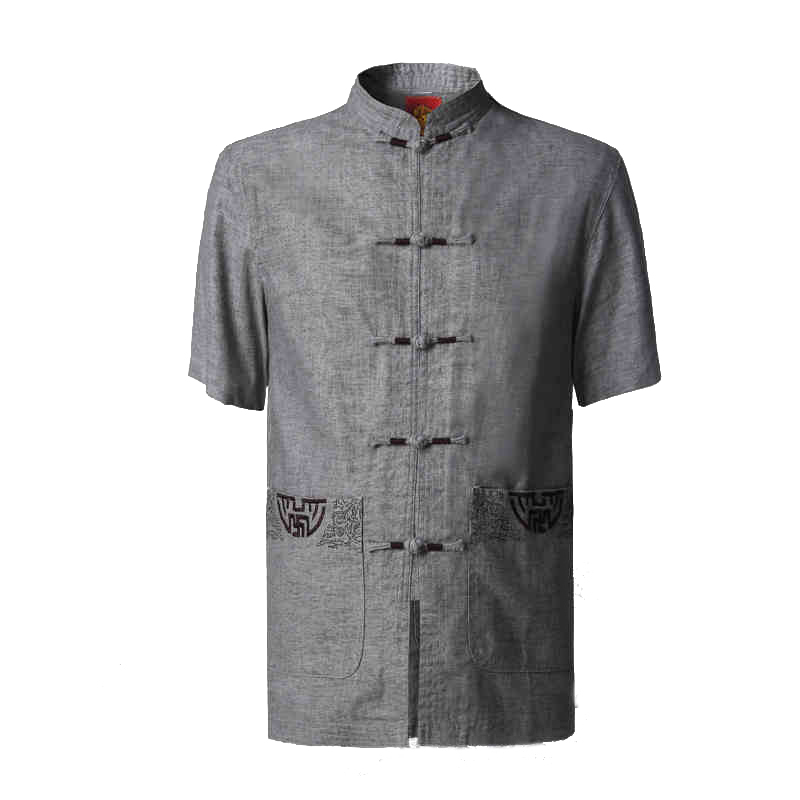 Summer New Chinese Men&39;s Mandarin Collar Shirt Cotton Linen Kung Fu Shirts Tai Chi Wu Shu Clothing Size M L XL XXL XXXL NS054