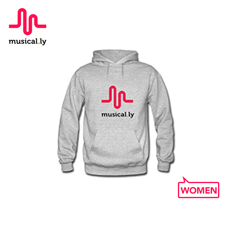 musical.ly Original Women Cotton Breathable Comfortable Gray Hoodies for Women for KidH00007W