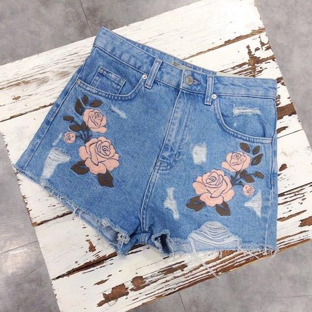 summer high waist denim short Flower embroidery light blue frayed hot short plus size xxxl