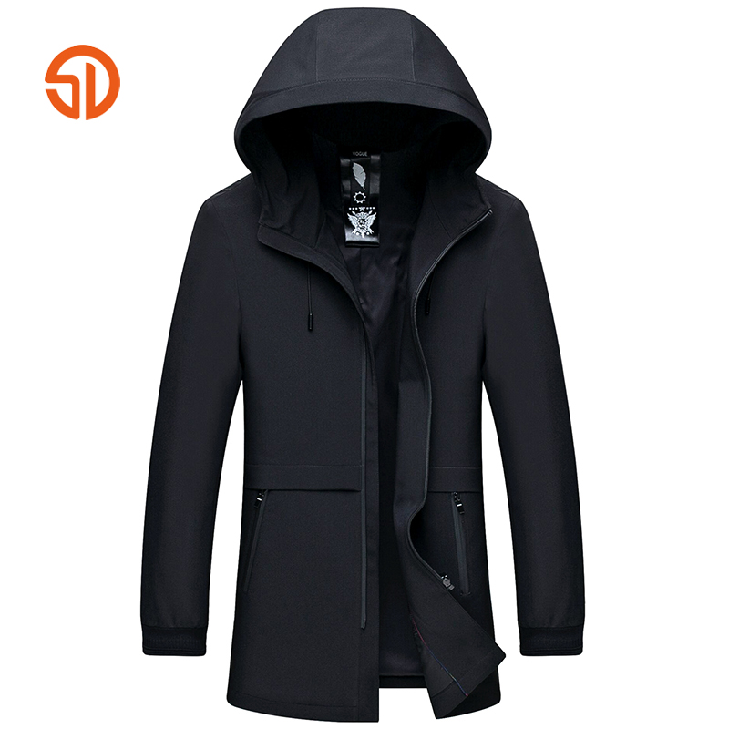 Long Jackets Mens Business Casual Hooded Trench Coat Male Windbreaker Spring Autumn Plus Size XXXXL Solid Black Gray M-4XL
