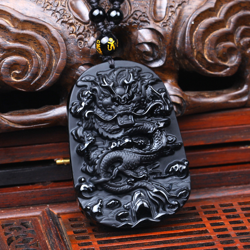 Drop Shipping carving Chinese black A Natural Obsidian carved dragon black obsidian necklace pendant
