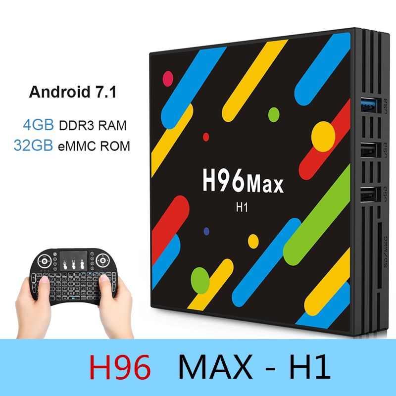 H96 MAX-H1 TV Kutusu RK3328 Android 7.1 4 K Set-top Box 4 GB RAM + 32 GB ROM 2.4G + 5G WiFi 100 Mbps USB 3.0 BT 4.0 4 K Medya oyuncu