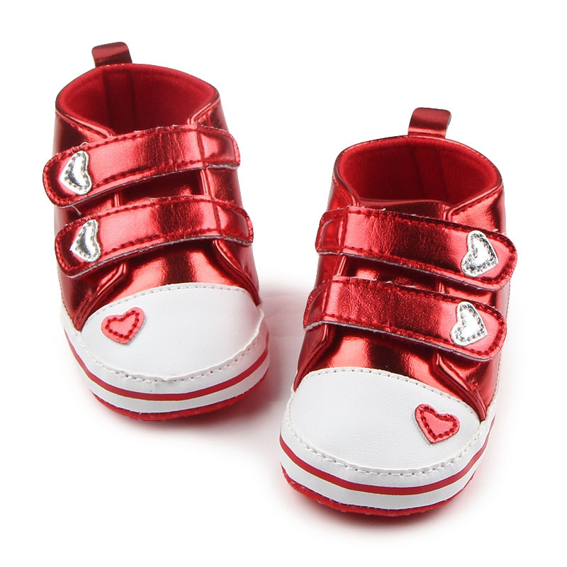 PU Leather Heart Pattern Crib Shoes Baby Girls Boys Soft Prewalkers Casual Toddler Sneaker Baby Hook & Loop Shoes