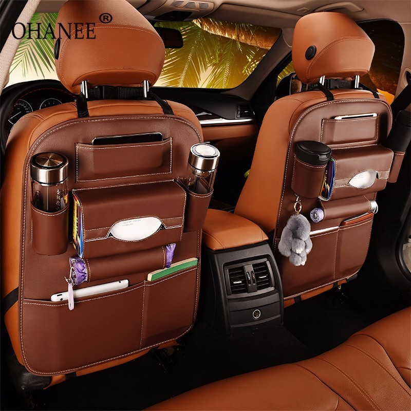 Pu Leather Car Seat Back bag Folding Portable Storage Box Multi-Use An seat organizer in the car Portable Tissue Auto bag
