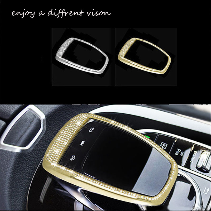 Araba styling Merkezi kontrol touchpad Trim fit için Benz GLC C E Class için W205 W213 2015 2017 araba sticker Araba aksesuarları