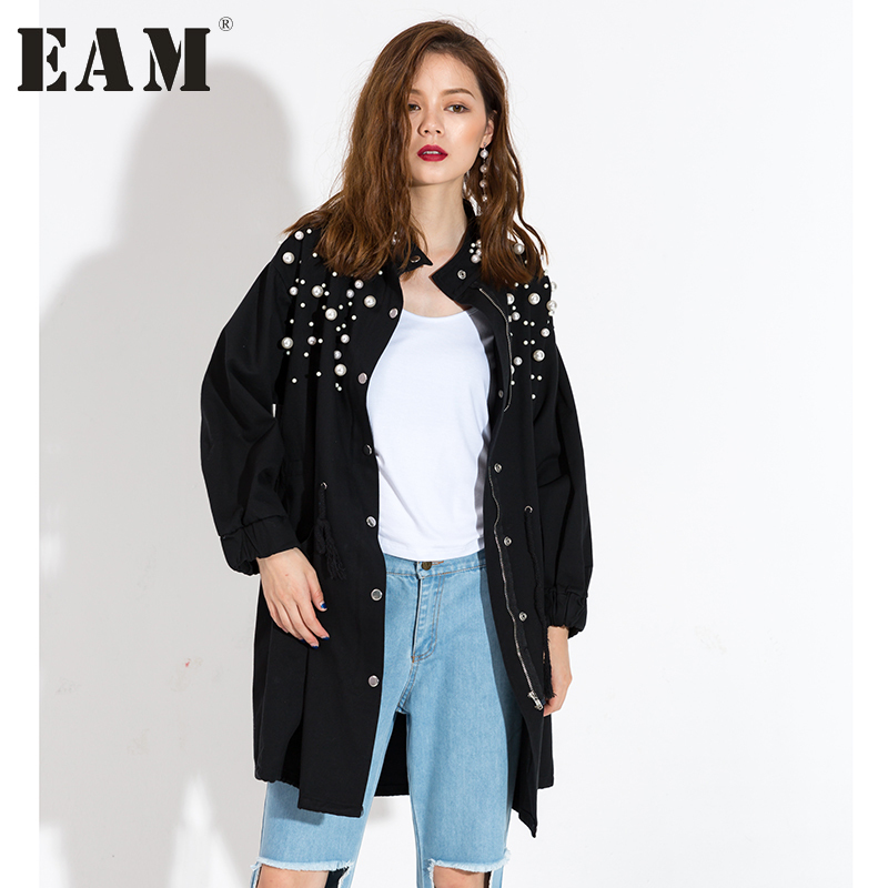 [EAM] 2017 autumn winter long sleeve Fashion New Pearled stand black big size loose jacket Woman fashion tide KS2181