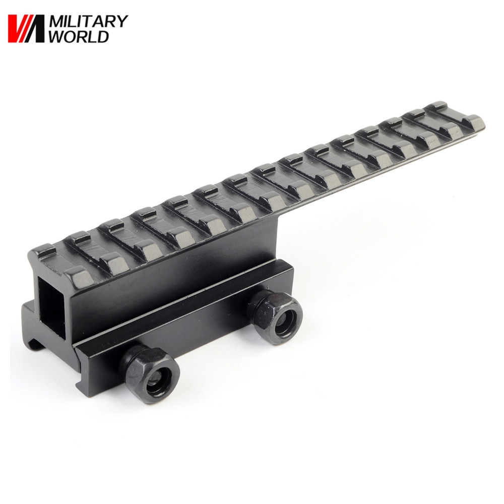 Airsoft Tactical Military Aluminum Detachable Scope Mount QD Base Flat top Riser Extended Long Pour 20mm Picatinny Rail Black