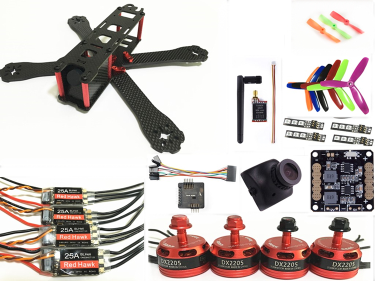 DIY FPV mini drone QAV-R 220 quadcopter puro carbonio 4x2x2 kiti telaio DX2205 + RED HAWK 25A ESC 2-6 S + NAZE32/SP F3 + TS5828L
