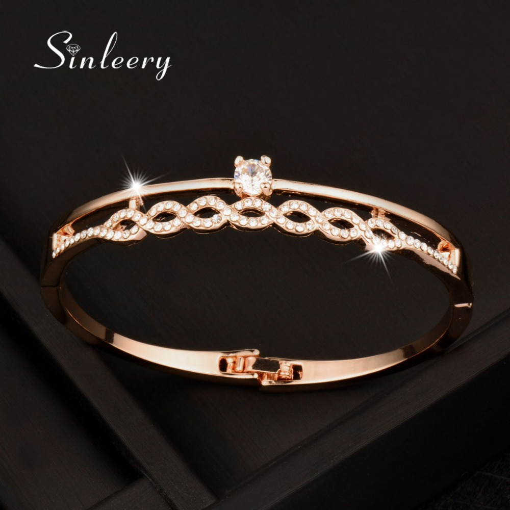 SINLEERY Charm Women Hollow Crystal Bangle &Bracelet Cuff White/Rose Gold Color Brand Designer Jewelry 2017 New Style SL040