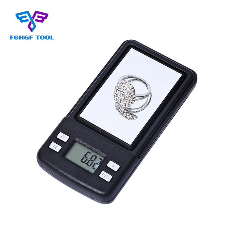 FGHGF Mini Jewelry Digital Pocket Mirror Scale Small 200g/0.01g Gram Weight Balance LCD Electronic Weighting Diamond Scales